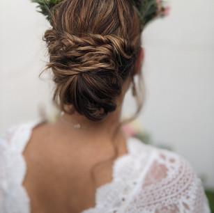 Boho bride twisted textured updo