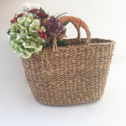 Leather Handled Seagrass Basket
