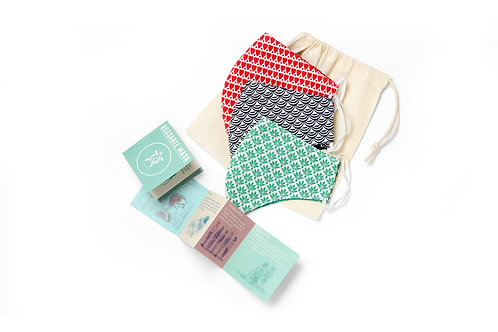 Organic Cotton Face Mask - Pack of 3 x 10