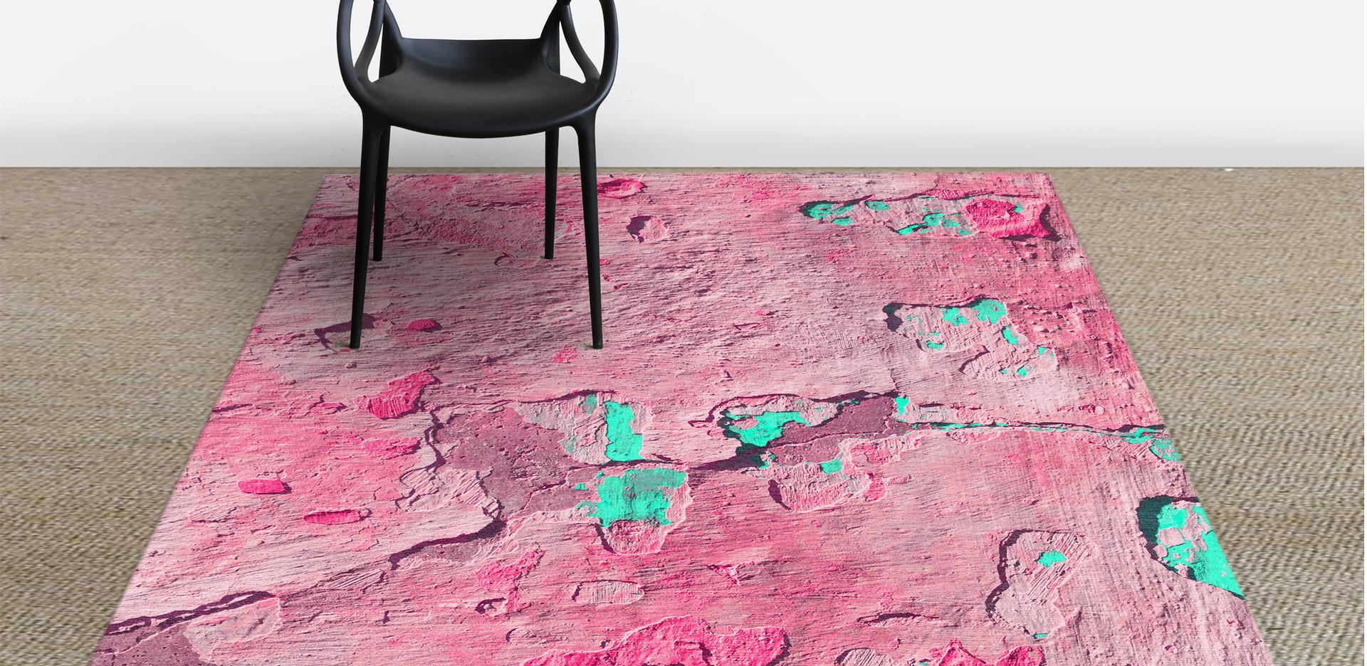 Peeling pink&green rug in room LR.jpg