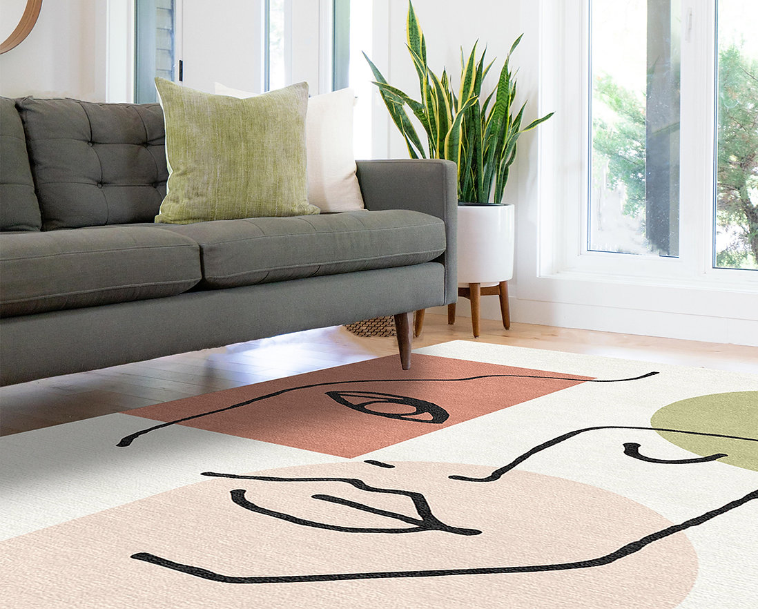 Linear Girl Rug with Grey Sofa cropped L