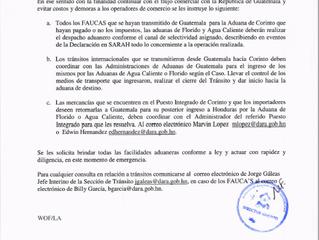 Instrucciones sobre emergencia paso fronterizo Intregado Corinto