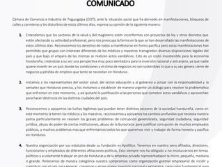 COMUNICADO CCIT - SITUACIÓN DE PAÍS