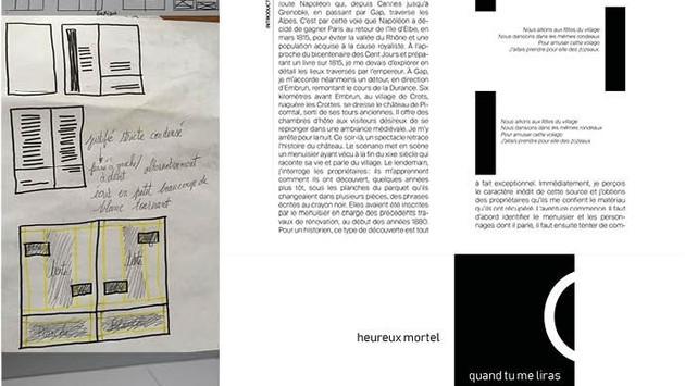 ... En parallèle, chacun élabore une mise en page selon des concepts tirés de la conférence de l'historien.