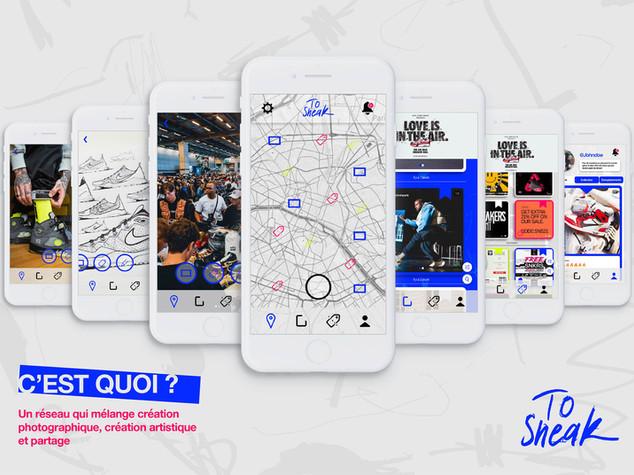To Sneak est une application permettant aux fans de sneakers de partager leur collection sans qu'il y ait de hiérarchie entre les utilisateurs. Le réseau social met en avant les boutiques à proximité, les bons plans et des événements exclusifs.