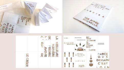 De la feuille unique à l'ouvrage — les compositions individuelles sont remises en jeu collectivement, initiation au travail de conception éditoriale autour du chemin de fer, des pré-maquette. Prolongation en cours de Pratiques et langages numériques.