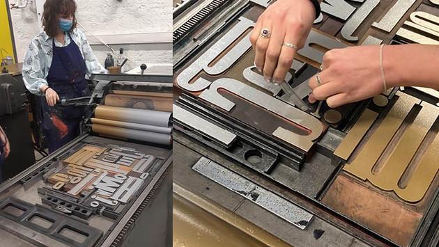 ... Puis nous avons expérimenté des compositions au Laboratoire d'Expérimentation Graphique sur les presses typographiques et approfondi nos idées sur ce projet...