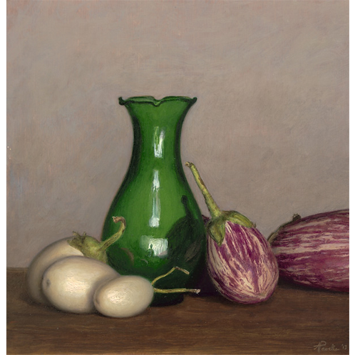 Egglplants and Green Vase, 2013