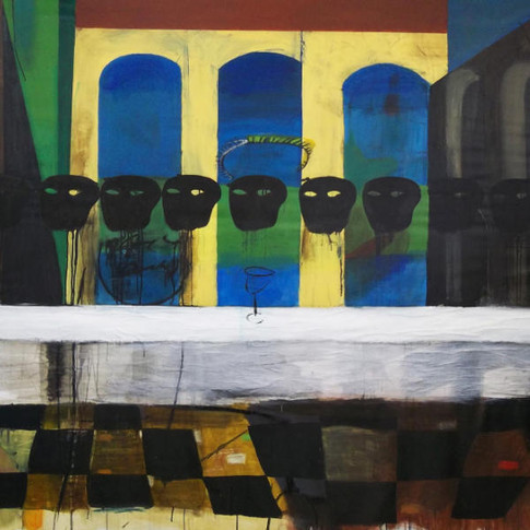 Last Supper (dealing with the Man) acrylic+sticks+collage on canvas 250x150 cm