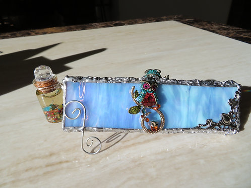 Handmade  Stained Glass Kaleidoscope with Crystal Owls