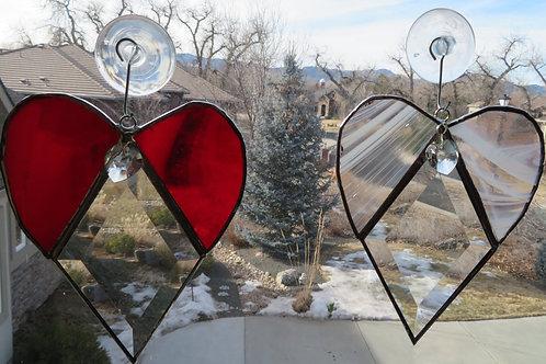 Stained Glass Heart Bevel Suncatcher