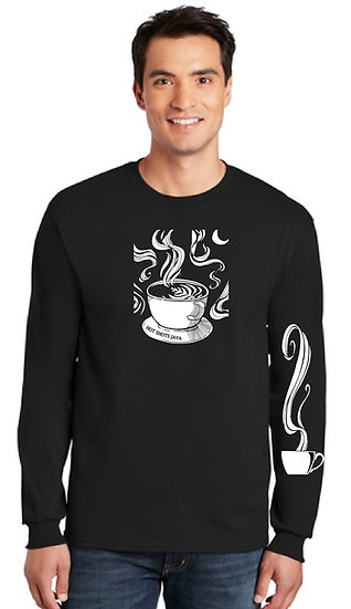 Mens Long Sleeve Latte Art Cup T Shirt