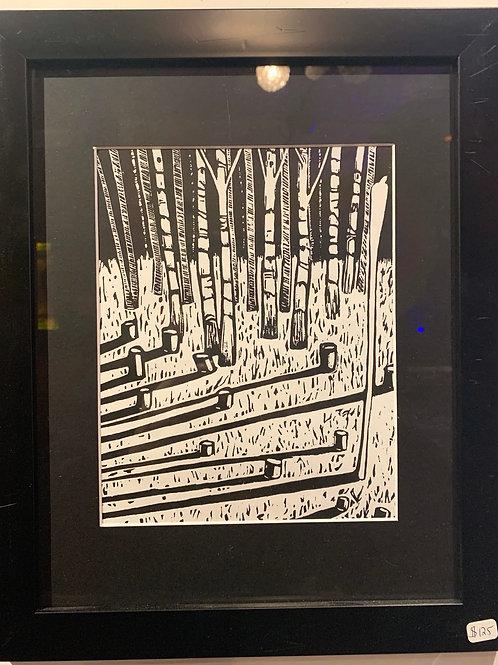 Linograph Cut Trees