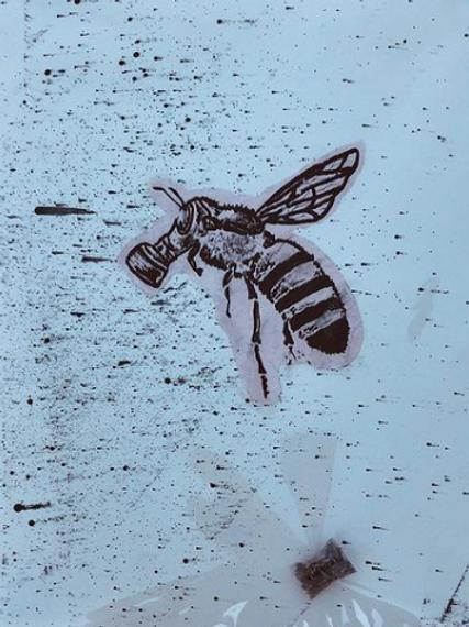 Bee Hand Embellished Silk Screen