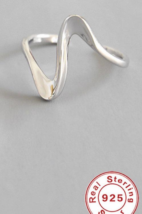 Wellen Form 925 Sterling Silber Ring