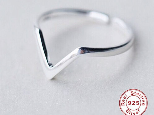 V Dreieck 925 Sterling Silber Ring