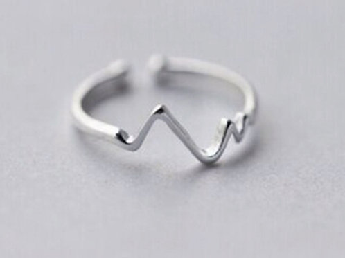 Geometrische Welle 925 Sterling Silber Ring