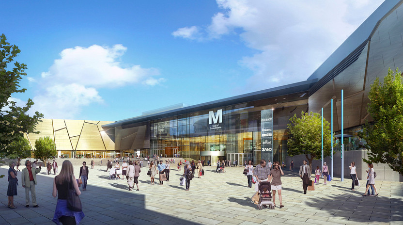 Mall of Scandinavia utvändigt mot arena