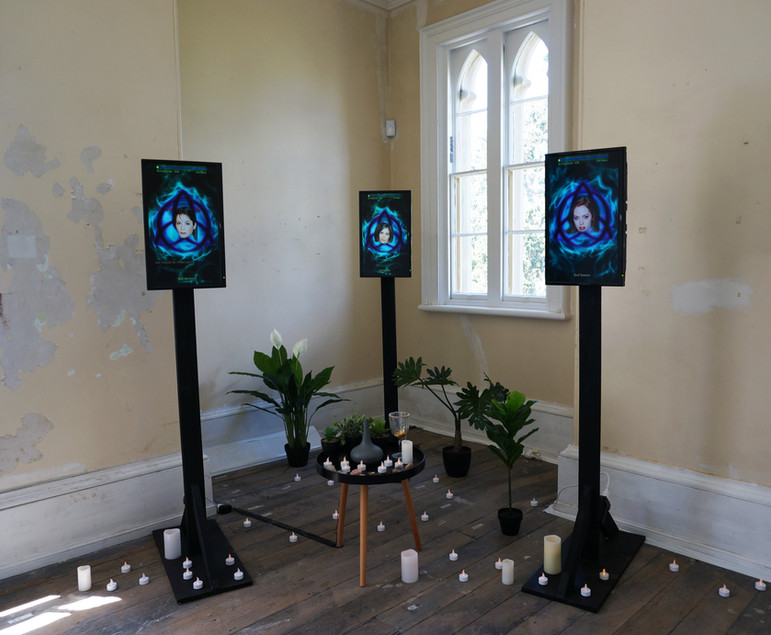 Jack Caddy, Home is where the altar is..., 2017, 3-channel video, audio, installation of found objects. Photo by Jess Boyce