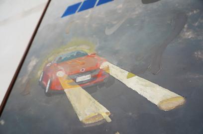 Lyndon Blue, Fiat Lux / Logos, 2017, acrylic on canvas, 50 x 80 cm Photo by Jess Boyce