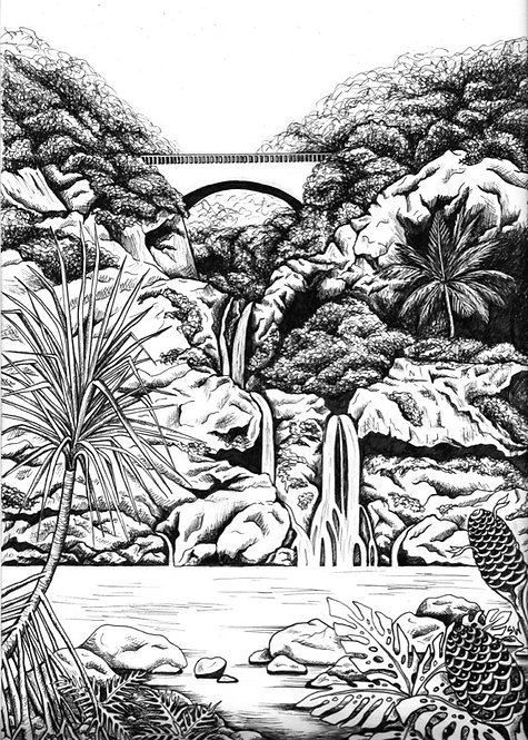 Ohe'o Pools B&W Matted Print