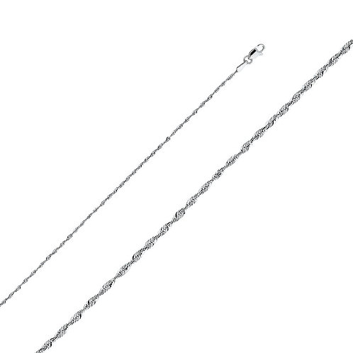 14k White Gold 1.5-mm Solid Rope Chain Necklace
