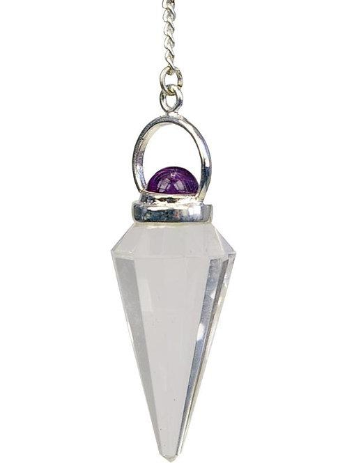 Pendule Pointe à facettes Cristal de Roche