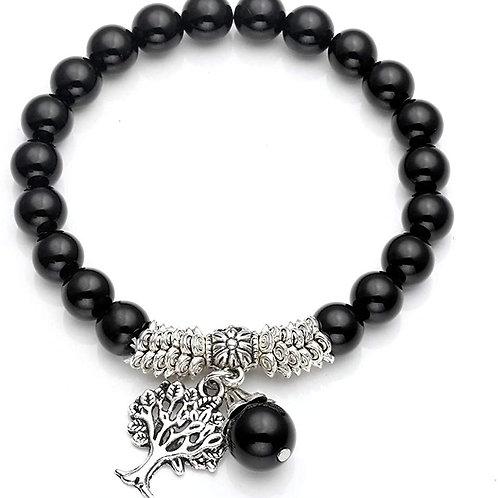 Bracelet tibétain agate noire et arbre de vie