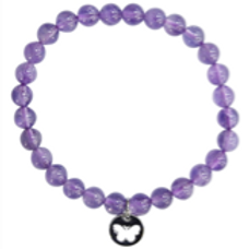 Bracelet améthyste perles rondes et papillon