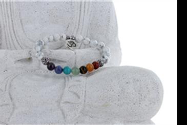 Bracelet 7 chakras et Howlite Véritables Pierres