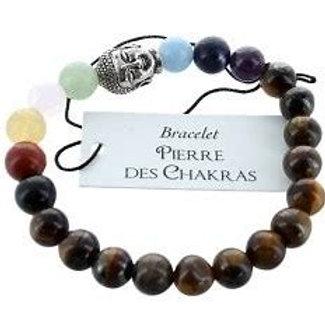 Bracelet 7 Chakras Oeil de tigre Perles - Bouddha