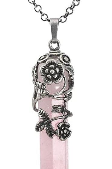 Collier pendentif hexagonale pierre Quartz rose