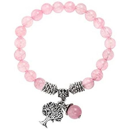 Bracelet tibétain quartz rose et arbre de vie