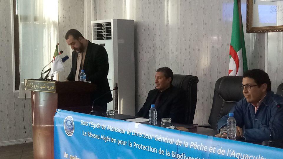 De Gauche à droite: Mr Hammouche Taha (Directeur général de la pêche et de l'aquaculture), Mr Farid Houarbia (DPGA) Emir BERKANE (Pr