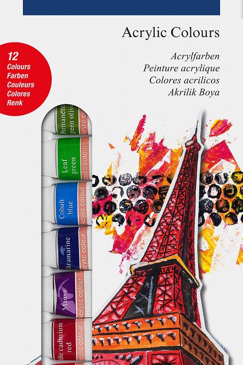 Boite de 12 tubes d'acrylique Faber Castell