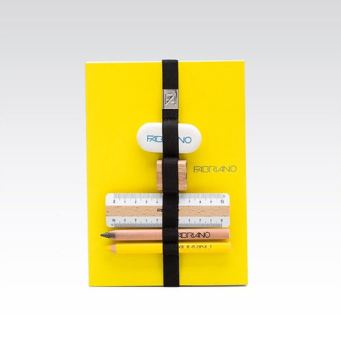 Carnet élastique multifonctions jaune Fabriano