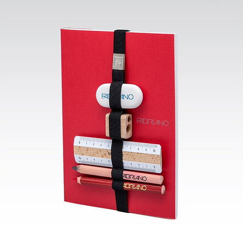 Carnet élastique multifonctions rouge Fabriano