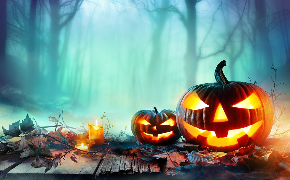 Pumpkins Burning In Forest At Night - Ha