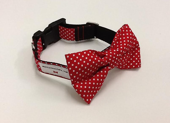 Red & White Spot Bow Tie Collar
