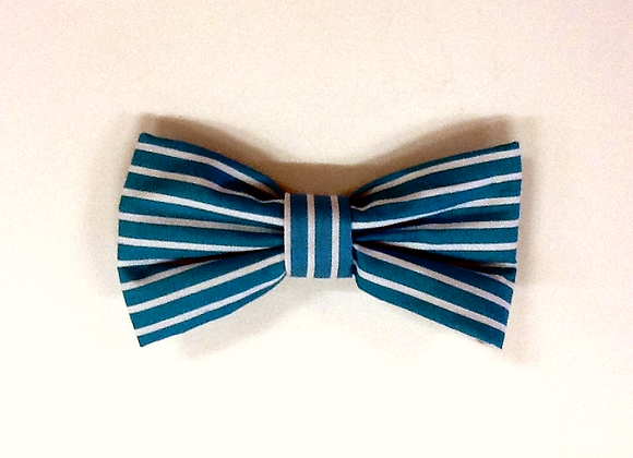 Blue & White Stripe Bow Tie