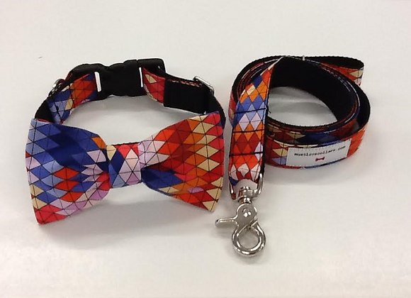 Orange Multi Colour Bow Tie Collar & Lead