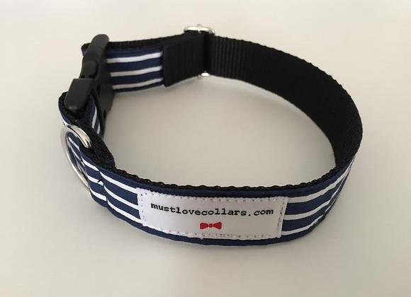Navy & White Stripe Collar