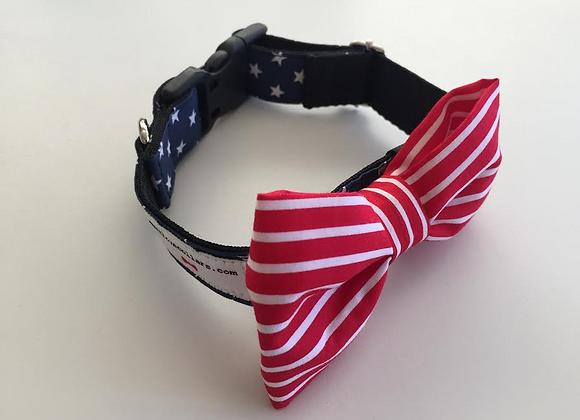 Navy Star & Red & White Stripe Bow Tie Collar