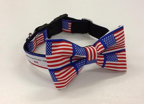 American Flag Print Bow Tie Collar