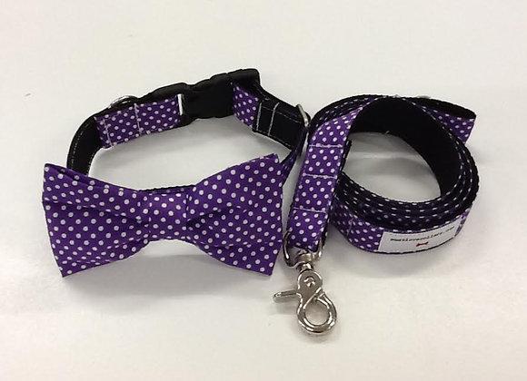 Purple & White Spot Bow Tie Collar & Lead