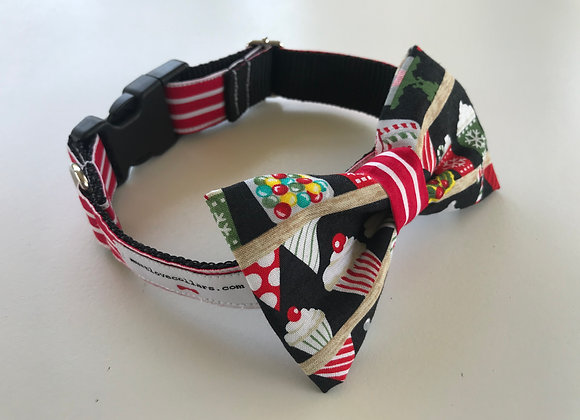 Candy Cane Print Bow Tie Collar