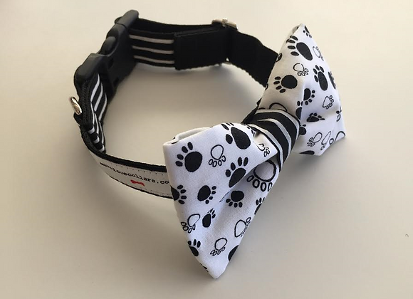 Paw Print and Black & White Stripe Bow Tie Collar