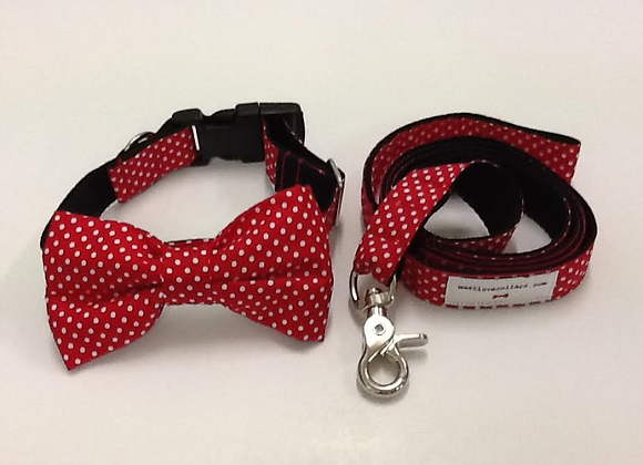 Red & White Spot Bow Tie Collar & Lead