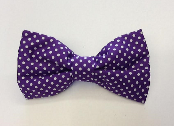Purple and White Spot Bow Tie