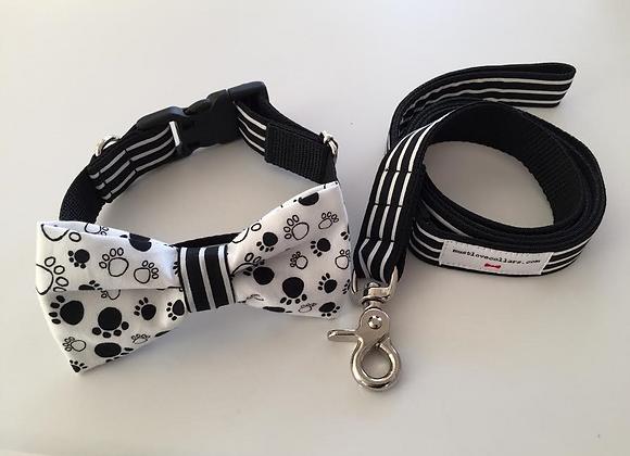 Paw Print & Blk & Wte Stripe Bow Tie Collar & Lead